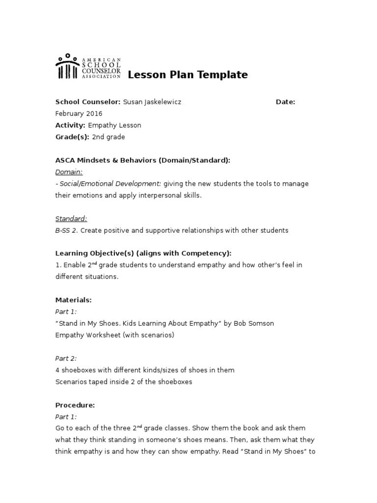 Asca Lesson Plan Empathy Empathy School Counselor - How to create a lesson plan template