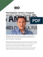 07.12.2016 Diario Cambio - Ruiz Esparza vendrá a inaugurar carretera Tepeaca-Tehuacán- RMV