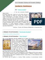 CALENDARIO VAISHNAVA DE DICIEMBRE