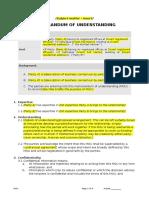 Template Memorandum of Understanding