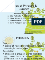 Types of Phrases & Clauses