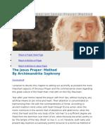 Elder Sophrony on Jesus Prayer Method