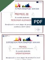 Premii ERASMUS Acordate de Universitate Studentilor Nostri