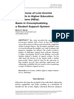 Experiences of Low-Income Students in Higher Education Institutions (HEIs)