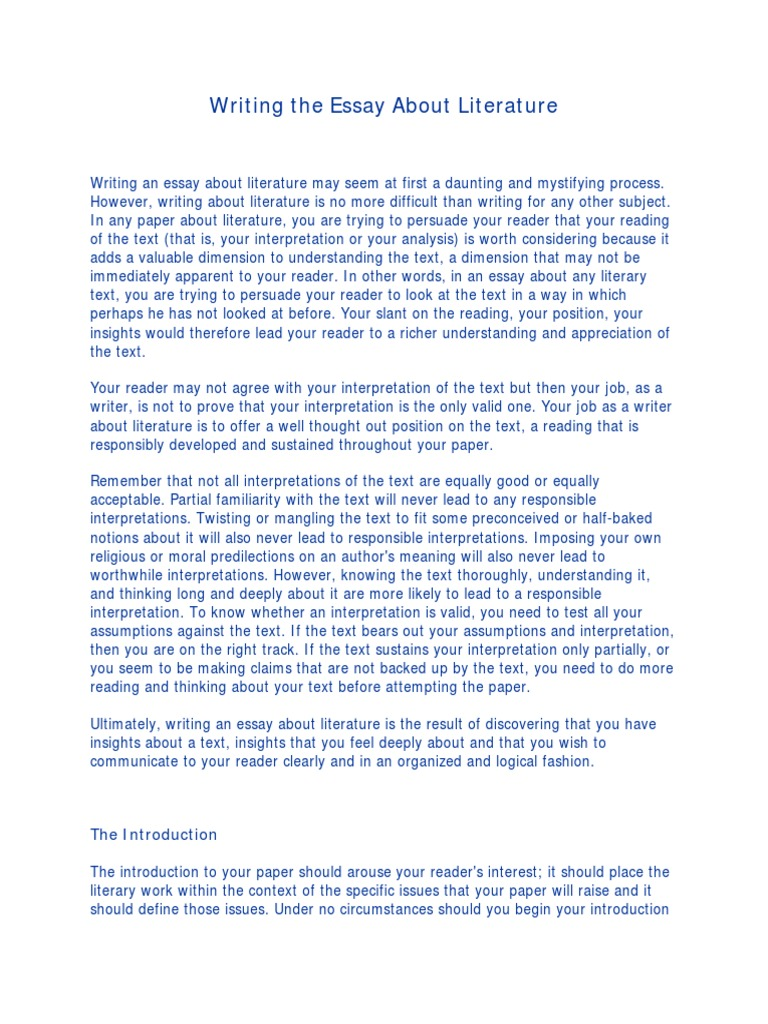 Writing the Essay About Literature   Essays   Argument