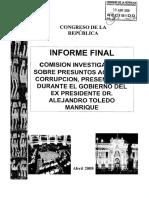 INFORME SOBRE IRREGULARIDADES EN EL GOBIERNO DE ALEJANDRO TOLEDO (2001 - 2006)