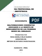 Monografía Malformaciones Congénitas Asociados a La Ingesta de Medicamentos en Los Primeros Meses Del Embarazo