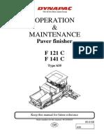 Mantenimiento y Operacion Asfatladora Dynapac f121 c