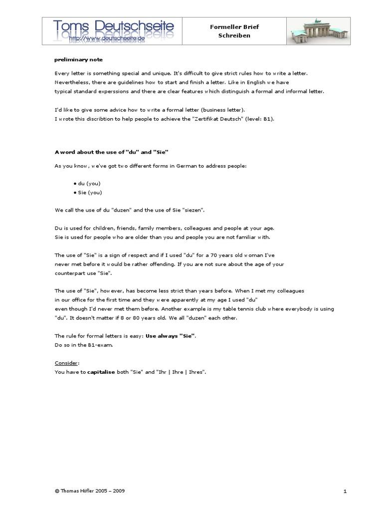 Formeller Brief Schreiben Duathlonwacom