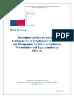 Recomendaciones Para Elaboracion e Implementacion d Eun Programa de Mtto Biomedico Chile
