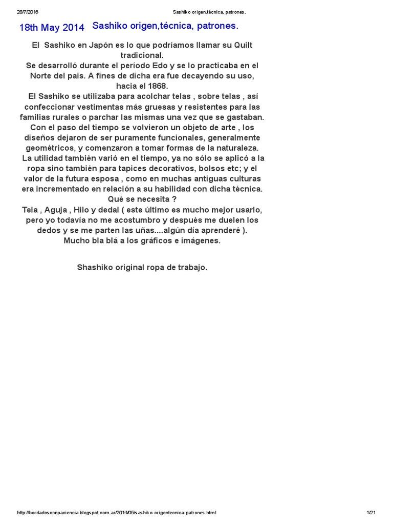 Sashiko Origen,Técnica, Patrones