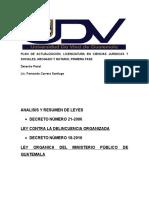Analisis Del Decreto Número 21-2006 Ley Contra La Delincuencia Organizada y Decreto 18-2016 Ley Organica Del Ministerio Publico (1)