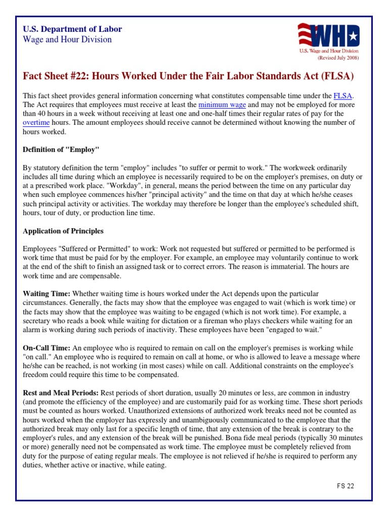 fact sheet #22 hours worked under the fair labor standards act (flsa