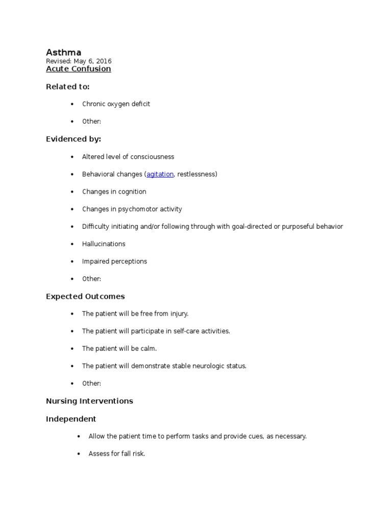 Asthma Nursing Care Plans- Lippincott   Monitoring ...