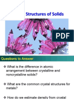 MSE 101 - Lecture 4 - Crystal Structure