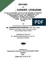 History Of Classical Sanskrit Literature-M.Krishnamachariar