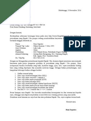 Surat Lamaran Kerja Pt Multi Indo Mandiri