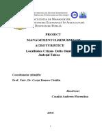 Proiect Mang Resurselor Agroturistice in Comuna Crisan-Delta Dunarii Judetul Tulcea