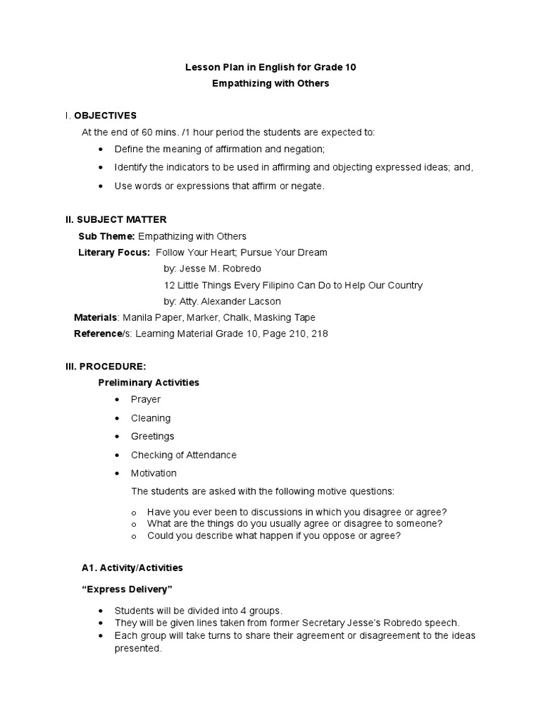 Lesson Plan In English Adverb Lesson Plan