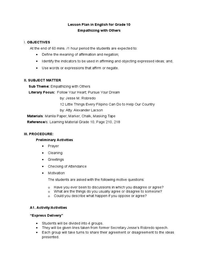 Lesson Plan In English Adverb Lesson Plan