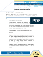 Modelo Para Evaluacion de Gestion de Empresas Industriales Del Subsector de Cosmeticos