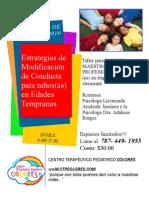 Taller de Estrategia de Modificación de Conducta para Niños de Edades Tempranas