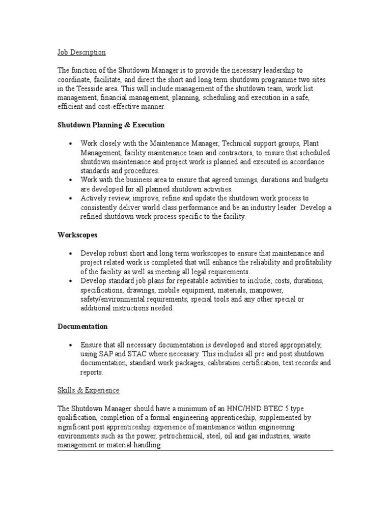 facilities manager job description
