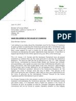 Letter to Foreign Minister on Srebrenica Genocide Motion
