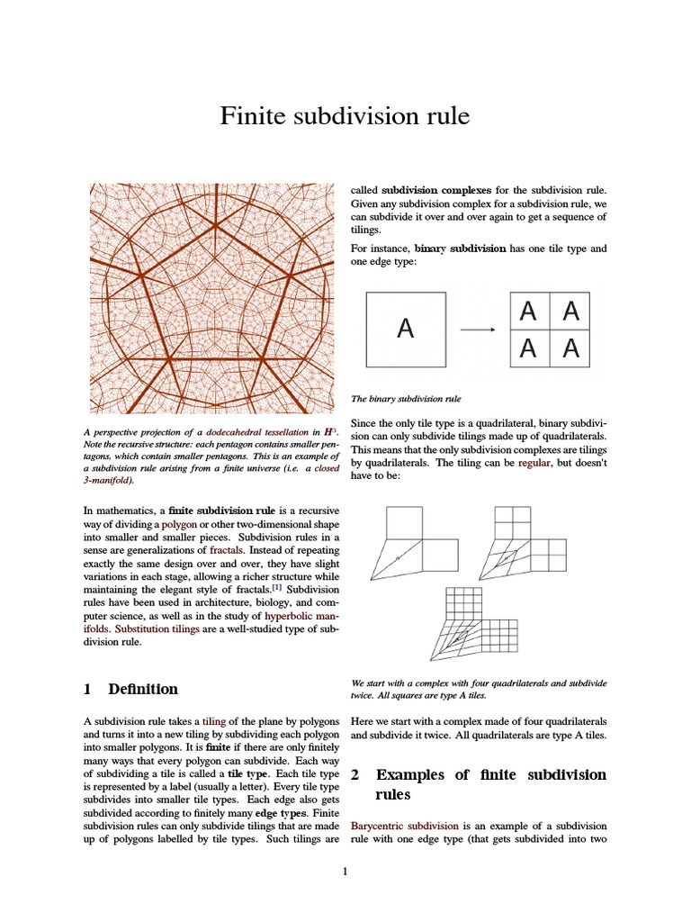 Finite Subdivision Rule | Geometry | Space