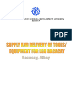 Supply and Delivery of Various Tools and Equipment for Lgu Bacacay - Document