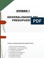 Unidad I Generalidades Del Presupuesto