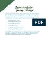 Characteristics of a Living Organism