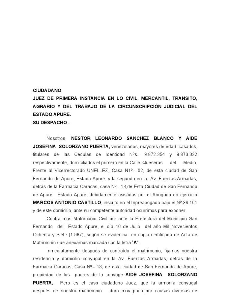 Divorcio 185 a sin hijos ni bienes for Modelo acuerdo extrajudicial clausula suelo