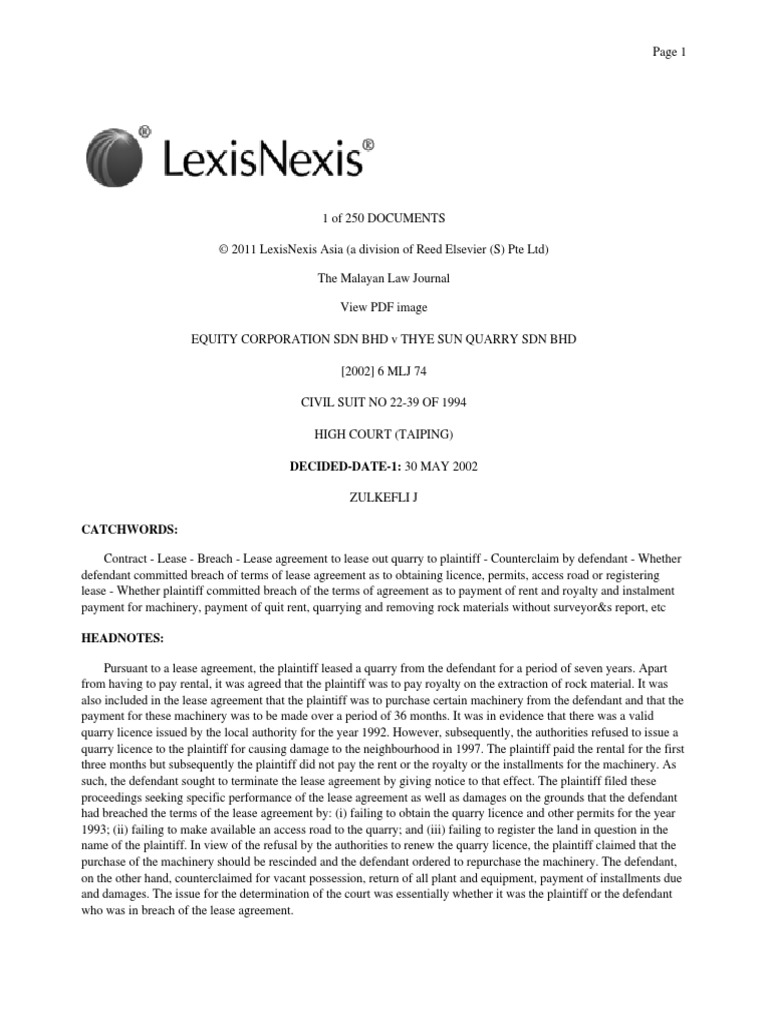 Equity Corporation V Thye Su Specific Performance Lease