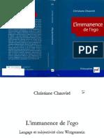 Chauviré, Christiane l'Immanence de l'Ego. Langage Et Subjectivite Chez Wittgenstein