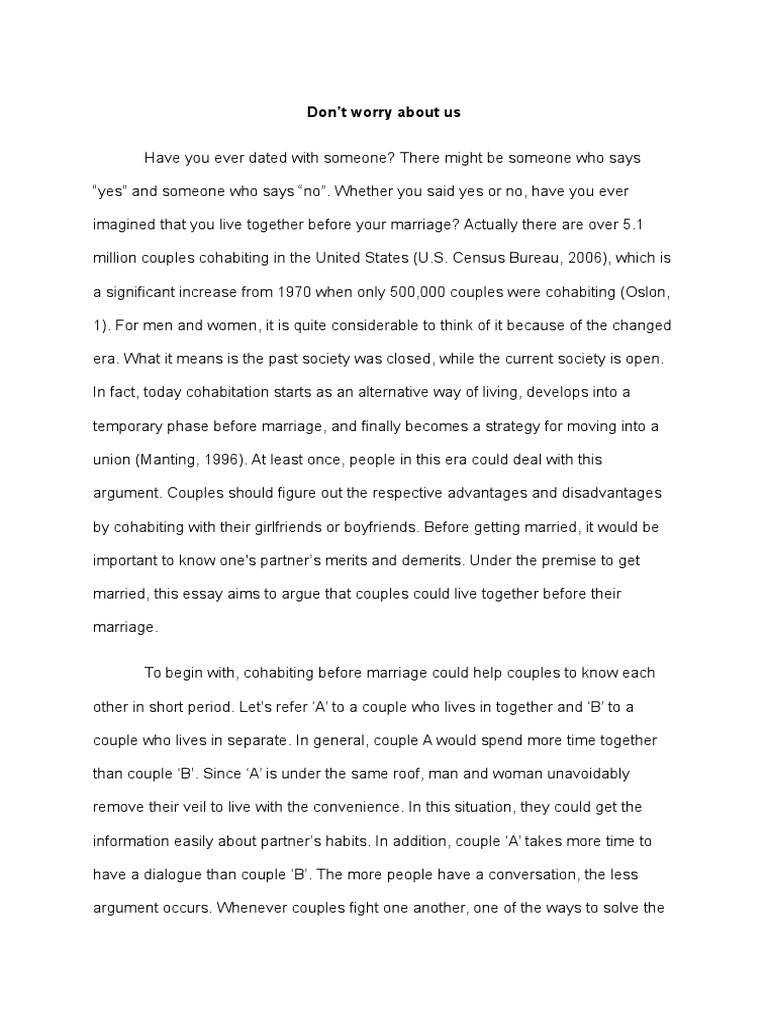 short essay about cohabitation