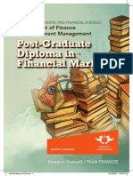 Post Graduate Diploma Financial Markets 2016