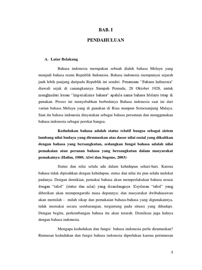Makalah Kedudukan Bahasa Indonesia