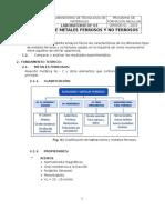 Laboratorio 03 Identificación de Metales Ferrosos y No Ferrosos Word