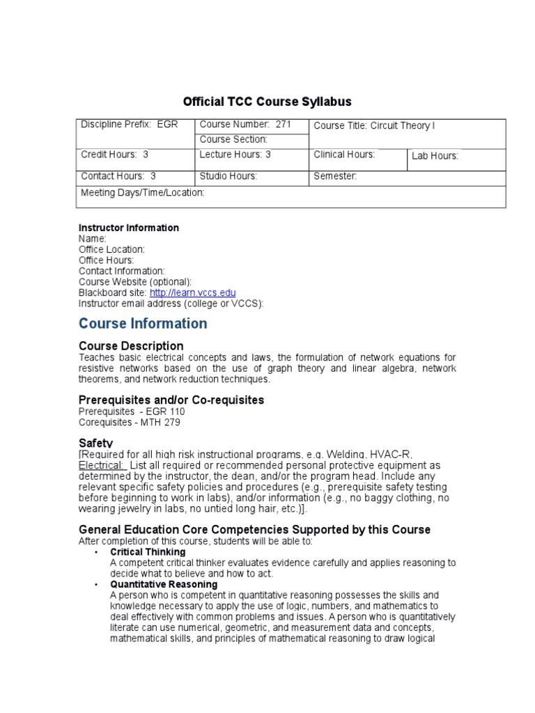 Egr 271 Syllabus Network Analysis Electrical Circuits Circuit Theory Description