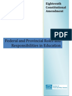 18th Amendment Federal and Provincial Responsibilities in Education