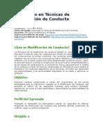 Diplomado en Técnicas de Modificación de Conducta