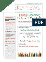 weekly newsletter- december 12-16