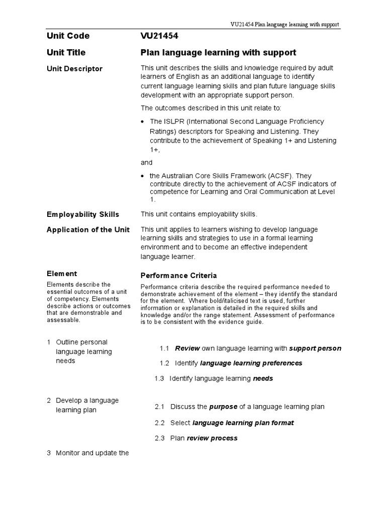 language study plan sample
