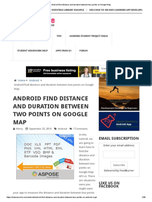 Android Find Distance and Duration Between Two Points on