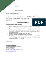 Carta Condiciones de Pago