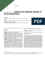 Surgical Management of Metastatic Disease of the Proximal Femur