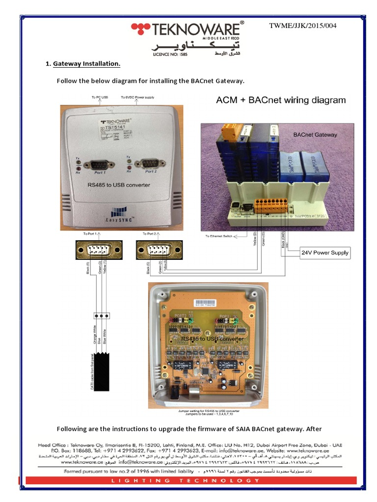 Bacnet Gateway Configuration Instructions Wiring Diagram
