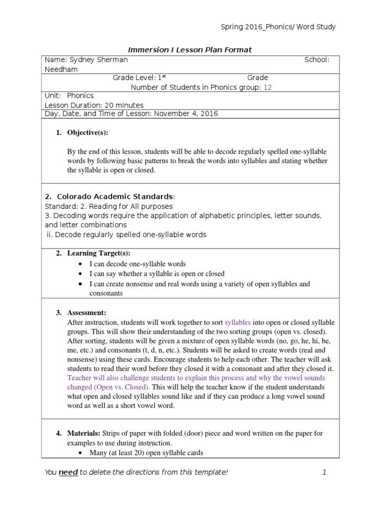 im i lesson plan phonics word study with reflection | Phonics | Syllable