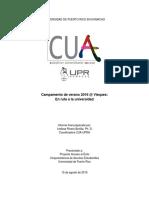 """Informe Final del campamento """"En ruta a la universidad"""" del CUA-UPRH en Vieques"""